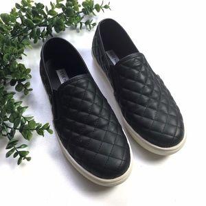 Steve Madden Quilted Black Slip On Sneakers